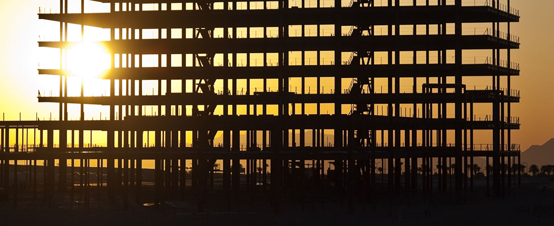 Steel structure with sunset