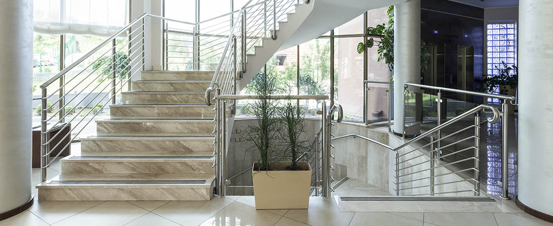 luxury staircase in lobby